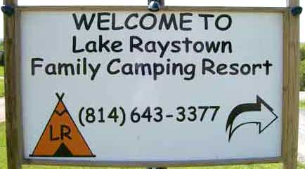 1 mile from Raystown Lake Boat Dock Snyder's Run Lake Raystown Family Camping Resort